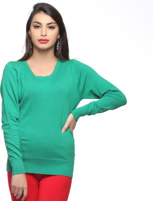 Madame Madame Solid Round Neck Casual Women's Sweater (Multicolor)