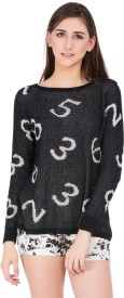 Fusion Printed Round Neck Casual Women's Sweater