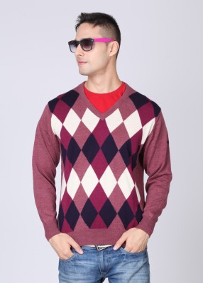 Monte Carlo Checkered V-neck Casual Men's Sweater