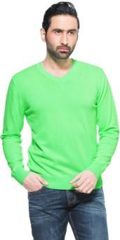 Zovi Neon Green Pullover Solid V-neck Casual Men's Sweater