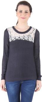 LIB WOMAN Self Design Round Neck Casual, Festive, Formal, Lounge Wear, Party Women's Sweater