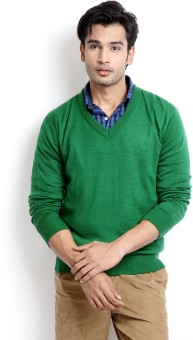 Indian Terrain Solid V-neck Casual Men's Sweater - SWTEBJBPDEKZEXHZ
