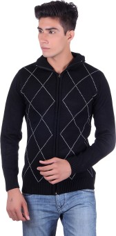 Fabtree Argyle, Solid Turtle Neck, V-neck Casual, Party, Festive Men's Sweater - SWTEBVQ3M3QK6KBZ