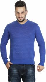 bk black Printed V-neck Men's Sweater