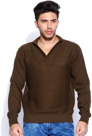 Roadster Solid V-neck Casual Men's Sweater