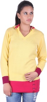 ECools Solid V-neck Party Women's Sweater