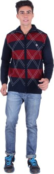 Fabtree Argyle, Solid, Striped Turtle Neck, V-neck Casual, Party, Festive Men's Sweater