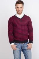 ALX New York Striped V-neck Casual Men's Sweater