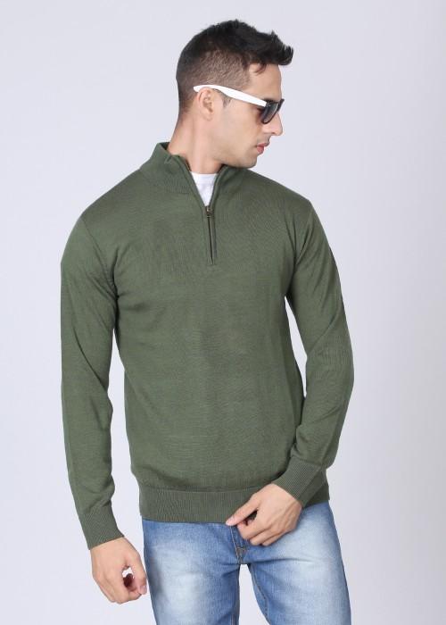 Indian Terrain Solid Turtle Neck Casual Men's Sweater