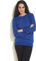 Sepia Solid Round Neck Casual Women's Sweater