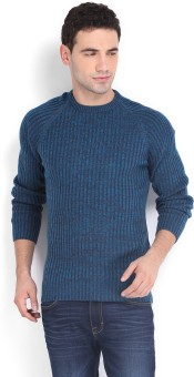 Peter England Self Design Round Neck Casual Men's Sweater
