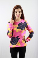 Envy Floral Print Round Neck Casual Women's Sweater