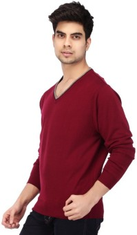 Acropolis By Shoppers Stop Self Design V-neck Casual Men's Sweater - SWTEBPVGKYSCEFFQ
