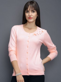 Sela Solid Round Neck Casual Women's Sweater
