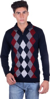 Fabtree Argyle, Solid Turtle Neck, V-neck Casual, Party, Festive Men's Sweater - SWTEBVQ3UNGHMDPG