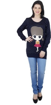 Camey Polka Print Round Neck Casual Women's Sweater