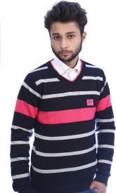 Bhagwan Knitwears Striped V-neck Men's Sweater