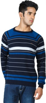 Zovi Black, Royal Blue And White Pullover Striped Round Neck Casual Men's Sweater