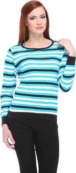 Club York Striped Round Neck Casual Women's Sweater