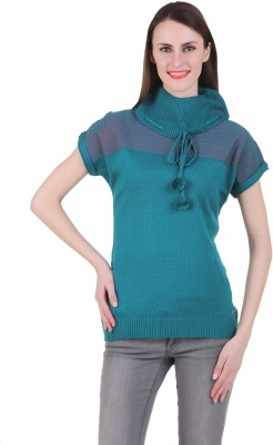 Juelle Juelle Solid Turtle Neck Casual Women's Sweater (Green)