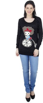 Camey Polka Print Round Neck Casual Women's Sweater - SWTEAZGVRXRN5HRQ