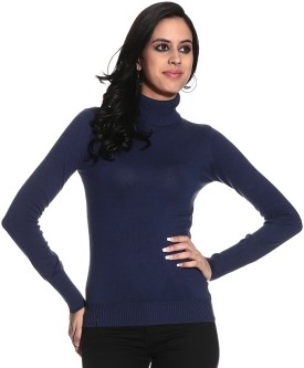 Gasser MA2845DO-Blue Solid Turtle Neck Casual Women's Sweater