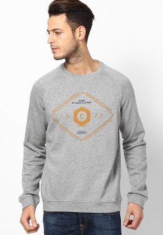 Jack & Jones Printed Round Neck Men's Grey Sweater
