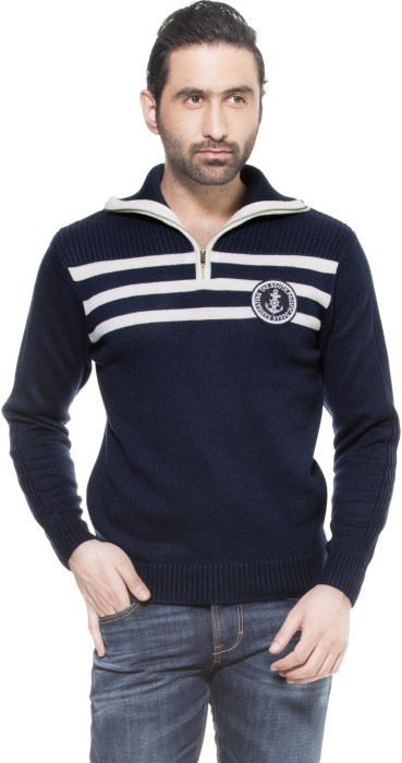 Zovi Navy Pullover With White And Applique Solid Turtle Neck Casual Men's Sweater