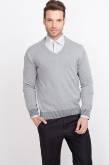ALX New York Solid V-neck Casual Men's Sweater - SWTDSG8ZYWZHMJV4