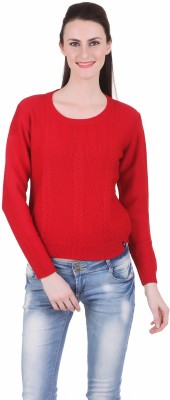 Juelle Juelle Self Design Round Neck Casual Women's Sweater (Red)
