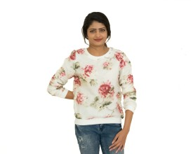 GoBonkers Floral Print Round Neck Casual, Formal Women's White Sweater