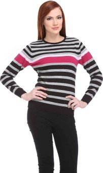 Club York Striped Round Neck Casual Women's Sweater - SWTE9S6GMHV6ENGG
