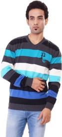Pierre Carlo Striped V-neck Casual Men's Sweater