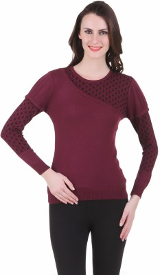 Juelle Juelle Geometric Print Round Neck Casual Women's Sweater (Red)