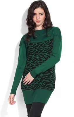 Duke Duke Printed Round Neck Casual Women's Sweater (Green)