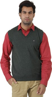 Arrow Solid V-neck Formal Men's Sweater - SWTEFGDUZRGDGPSS