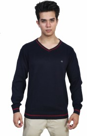 Flakes Fashion Solid V-neck Men's Sweater