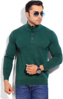 Indian Terrain Solid V-neck Casual Men's Sweater