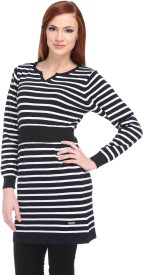 Club York Striped V-neck Casual Women's Sweater