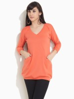 Femella Solid V-neck Casual Women's Sweater