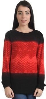 Rute Floral Print Round Neck Party Women's Black, Red Sweater