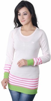 Riverside LDS128 Solid, Striped Round Neck Casual Women's Sweater