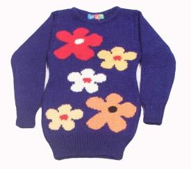 Deetya Floral Print Round Neck Girl's Sweater