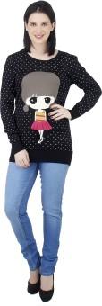 Camey Polka Print Round Neck Casual Women's Sweater - SWTEASU4PZTFCSYK