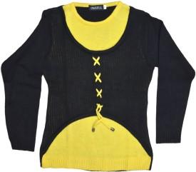 Ossell Self Design Round Neck Girl's Sweater