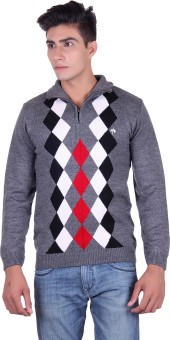 Fabtree Argyle, Solid Turtle Neck, V-neck Casual, Party, Festive Men's Sweater - SWTEBVQ3TE42SSZM