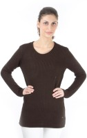 Again Solid Round Neck Casual Women's Sweater - SWTDXZF55FHACURU