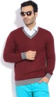 Indian Terrain Solid V-neck Casual Men's Sweater - SWTEYYTFMRFFZTJC