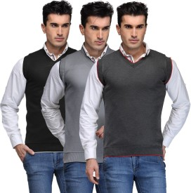 TSX Solid V-neck Casual, Party, Formal Men's Sweater