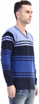 CLUB AVIS USA Striped V-neck Casual Men's Sweater